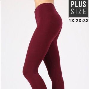 Zenana Plus Premium Cotton Leggings Dark Burgundy